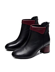 cheap -Women's Boots Chunky Heel Round Toe PU Booties / Ankle Boots Fall & Winter Black