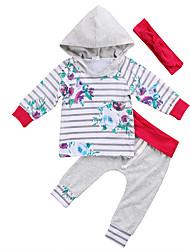 cheap -Baby Girls' Casual / Active Striped / Print Print Long Sleeve Long Clothing Set Gray