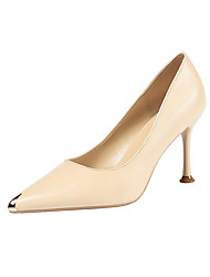 cheap -Women's Heels Stiletto Heel Pointed Toe Buckle PU Minimalism Spring & Summer Black / Brown / Wine / Party & Evening