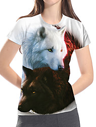 cheap -Women's Daily Club Basic / Exaggerated T-shirt - Color Block / 3D / Animal Wolf / Fantastic Beasts, Print White