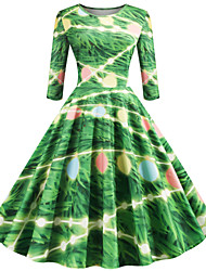 cheap -Princess Dress Women's Adults' Retro Vintage Christmas Christmas Polyester Dress