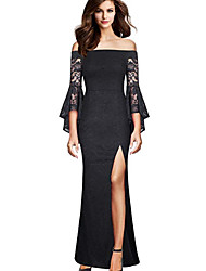 cheap -Mermaid / Trumpet Off Shoulder Floor Length Lace / Jersey Bridesmaid Dress with Split Front