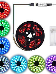 cheap -1M Waterproof LED Strip Lights RGB Tiktok Lights Battery Powered 30 LEDs Per Meter 5050 With 3 Key Mini Controller TV Computer Backlight