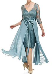 cheap -Sheath / Column Plunging Neck Ankle Length Lace 3/4 Length Sleeve Plus Size Mother of the Bride Dress with Bow(s) / Pleats 2020