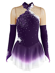 cheap -Figure Skating Dress Women's Girls' Ice Skating Dress Violet Yellow Dark Purple Flower Halo Dyeing Spandex Competition Skating Wear Breathable Handmade Floral Fashion Long Sleeve Ice Skating Figure