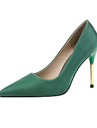 cheap -Women's Wedding Shoes Stiletto Heel Pointed Toe PU Minimalism Spring & Summer Black / Wine / Almond / Party & Evening