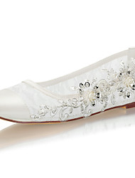 cheap -Women's Wedding Shoes Flat Heel Round Toe Beading / Sequin Satin Spring &  Fall / Summer Ivory