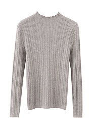 cheap -Women's Solid Colored Long Sleeve Slim Pullover Sweater Jumper, High Neck Fall / Winter Black / White / Blue One-Size