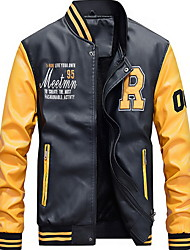 cheap -Men's Daily Fall & Winter Regular Leather Jacket, Letter Stand Long Sleeve PU White / Yellow / Blue