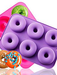 Недорогие -6 полость силиконовые формы пончик противень антипригарным diy торт украшения инструменты жаропрочные многоразовые инструменты для выпечки