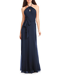 cheap -A-Line Halter Neck Floor Length Chiffon Bridesmaid Dress with Sash / Ribbon