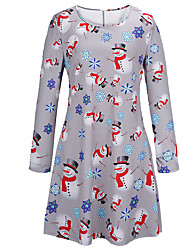 cheap -Women's Christmas Party Daily Basic Sheath Dress - Snowflake Snowman, Print Light gray Royal Blue S M L XL