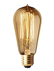 cheap -1pc Edison Light Bulbs ST58 40w Vintage Antique Tungsten Filament Incandescent Bulbs E26/E27 Base Light Bulbs for Decorative Pendant Lighting 220V Amber Glass