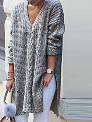 cheap -Women's Solid Colored Long Sleeve Loose Cardigan Sweater Jumper, V Neck Black / Gray S / M / L