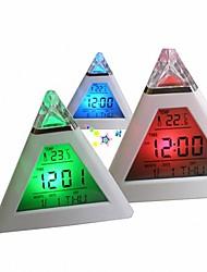 Недорогие -7 цветов красочные пирамиды жк-будильник ночник термометр цифровые настенные часы сменные светодиодные часы home decor accessorier