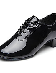 cheap -Men's Modern Shoes / Ballroom Shoes PU Lace-up Heel Thick Heel Dance Shoes Black / Performance / Practice