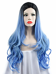 cheap -Synthetic Wig Body Wave Body Wave Wig Long Blue Synthetic Hair Women's Ombre Hair Dark Roots Middle Part Blue