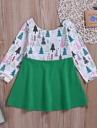 abordables -bébé Fille Basique Imprimé / Noël Manches Longues Coton Robe Vert