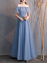 cheap -A-Line Off Shoulder Floor Length Tulle Bridesmaid Dress with