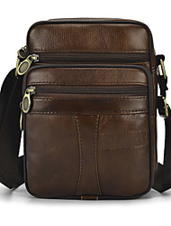 cheap -Men's Zipper Cowhide Briefcase Solid Color Brown
