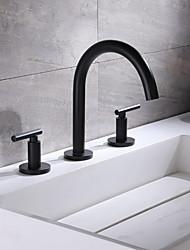 cheap -Bathroom Sink Faucet - Widespread Black Widespread Two Handles Three HolesBath Taps