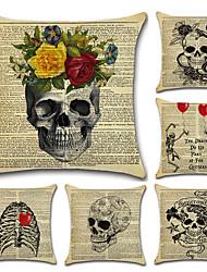 cheap -6 pcs Linen Pillow Cover, Holiday Skull Traditional Halloween Throw Pillow