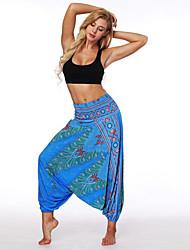 cheap -Women's Yoga Pants Harem 3D Print Light Blue Dark Blue Dance Fitness Gym Workout Bloomers Sport Activewear Breathable Quick Dry Soft Loose / Winter