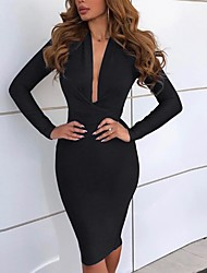 cheap -Women's Elegant Slim Bodycon Dress - Solid Colored Deep V Black Blushing Pink Red S M L XL