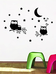 cheap -Tree owl star moon generation carved carved personality wall sticker living room bedroom sofa background wall custom MU4476