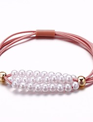 cheap -Women's Hair Ties For School Work Festival Pearl Cord Blushing Pink