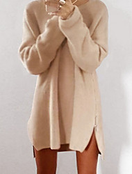 cheap -Women's Solid Colored Pullover Long Sleeve Sweater Cardigans Round Neck Red Blushing Pink Khaki