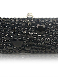 cheap -Women's Beading / Crystals Silk Evening Bag Solid Color Black