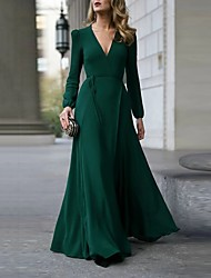 cheap -Women's Maxi Trumpet / Mermaid Dress - Long Sleeve Solid Color Patchwork Spring & Summer Fall & Winter Deep V Party Wine Black Army Green S M L XL