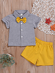 cheap -Baby Boys' Basic Solid Colored Short Sleeve Regular Regular Clothing Set Gray