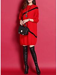 cheap -Women's Daily Wear Street chic Sweater Dress - Striped Black Red M L XL XXL