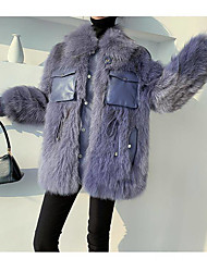 cheap -Long Sleeve Coats / Jackets / Basic Fox Fur / 58%Wool42%V Party / Evening / Office / Career Women's Wrap / Women's Scarves With Buckle