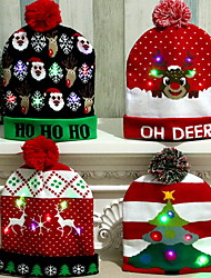 cheap -LED Christmas Hat Santa Claus Reindeer Snowman Hats New Year Xmas Gifts Cap Home Decorations