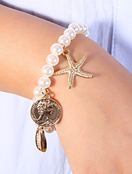 cheap -Women's White Bead Bracelet Vintage Bracelet Earrings / Bracelet Classic Starfish Shell Classic Trendy Fashion Cute Elegant Imitation Pearl Bracelet Jewelry Gold For Gift Daily School Holiday Festival