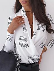 cheap -Women's Daily Shirt - Letter V Neck Black