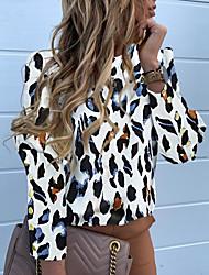 cheap -Women's Daily Basic Shirt - Leopard Black