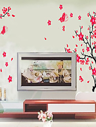 cheap -Peach blossom butterfly flying flying living room TV wall bedroom romantic decoration background wall sticker AY739