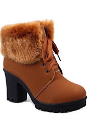 cheap -Women's Boots Chunky Heel Round Toe PU Booties / Ankle Boots Winter Black / Dark Brown