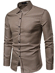 cheap -Men's Plaid Shirt Daily Wine / Blue / Red / Blushing Pink / Camel / Long Sleeve