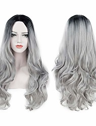 cheap -Synthetic Wig Body Wave Body Wave Wig Long Grey Synthetic Hair Women's Heat Resistant Dark Roots Natural Hairline Gray