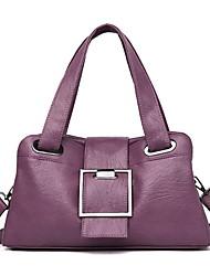 cheap -Women's Zipper Cowhide Top Handle Bag Solid Color Black / Wine / Purple