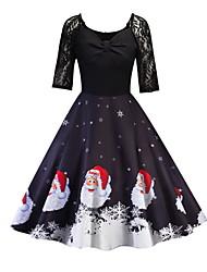 cheap -Women's A Line Dress - Half Sleeve Geometric Snowflake Deep V Basic Christmas Party Daily Wear Black Blue Red S M L XL