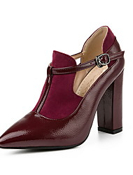 cheap -Women's Heels Chunky Heel Pointed Toe PU Booties / Ankle Boots Fall & Winter Black / Wine / Red
