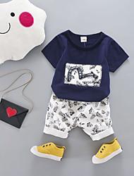 cheap -Baby Boys' Basic Print Short Sleeve Regular Regular Clothing Set Red