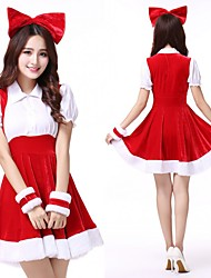 cheap -Santa Claus Dress Women's Adults' Costume Party Christmas Christmas Velvet Dress / Headwear / Headpiece