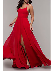 cheap -A-Line Spaghetti Strap Floor Length Chiffon Elegant Formal Evening Dress 2020 with Split Front / Pleats